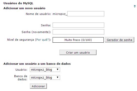 usuário banco de dados